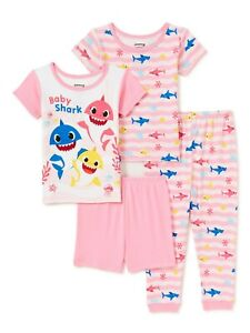 New Toddler Girl Baby Shark 4 Piece Pajama Set 3T 4T 5T