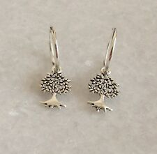 925 Sterling Silver Small Drop Dangle Tree Of Life Hoop Sleepers Earrings