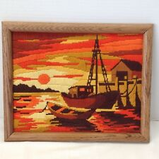 Vintage Framed Retro Needlepoint SUMMER Sunset House Picture Embroidered Crewel