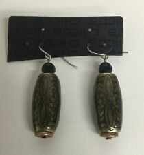 Fashion Jewelry Name Brand Earrings Green and Black Pendant style NEW