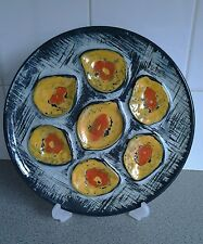 Vintage plates,MBFA Pornic Oyster Plate French Hand Painted Majolica Mid-Century