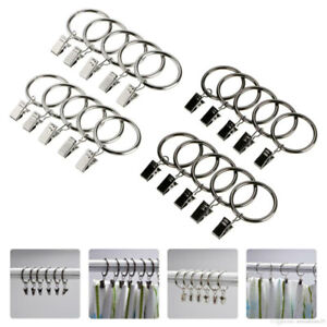 Curtain Clasp Metal Curtain Pole Rod Voile Net Ring Hooks With Clips Hanging