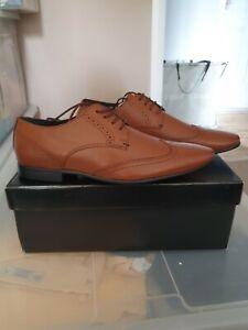 Men's Burton Tan Brown Leather Look Brogue Shoes size 9