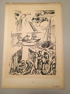 """Original Lithographie Max Pechstein """"Fischer"""" 1919"""
