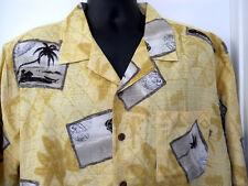 Havana Jacks Cafe XL Hawaiian Shirt  Yellow Black White Postcards 100% Silk