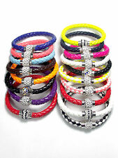 Leather Bracelet Bangle Wristband Jewellery Shamballa Cuff Wrap Punk Rhinestone
