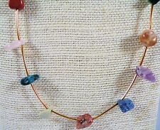 """30"""" Gemstone/Tube Bead Necklace Gold Plate Claw Clasp Multicolored"""