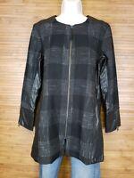 Susina Black Full Zip Tweed Vegan Leather Trim Jacket Blouse Womens Size Small S