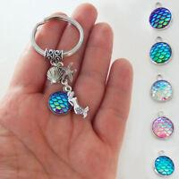 Retro Mermaid Key Chain Fish Scale Keyring Bag Hanging Charm Pendant Decor Gifts