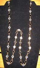 "Vintage Austrian Crystal Black & Clear Gold Tone 35"" Necklace & Bracelet"