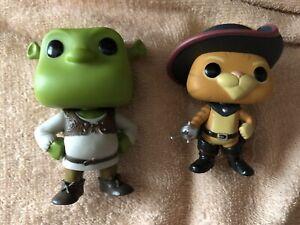 2 x Shrek Funko Pop Vinyl Figures Unboxed OOB Shrek #278 & Puss In Boots #280