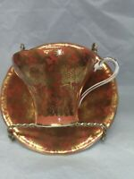 Vintage  Aynsley Cup and Saucer Amber and gold with gold trim