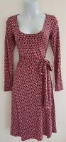 Womens Boden Pink Scoop Neck Ruched Stretch Jersey Fixed Wrap Dress 6 Vgc.