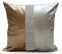 "Designer Cushions or Covers Plain Velvet Diamante Pearl Two Tone 17X17""or21""X21"""
