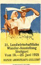 vintage Poster stamp label LANDWIRTSCHAFTLICHE Stuttgart 1925 Germany farmers