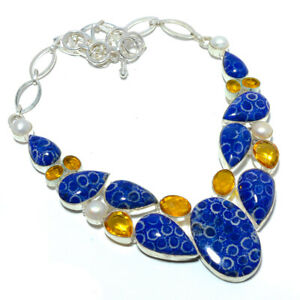 """Blue Fossil Coral - Australia & Citrine 925 Sterling Silver Necklace 17.99"""" S985"""