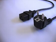 European Schuko mains plug black power cable to IEC C19 (UPS, server)