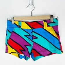 Loudmouth Golf Shorts Womens Size 8 Multi-Color Zig Zag Bolt Flat Front Chino