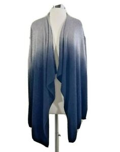 Barefoot Dreams Bamboo Chic Lite Ombre Black Gray Cardigan Sz S / M Style 436