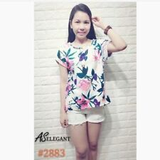 FLORAL TOP # 2883 (EC)  - BLUE GREEN FLOWERS