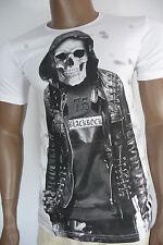 Herren T-Shirt BLACKROCK Skull Totenkopf Totenschädel Kurzarm weiß Gr. L
