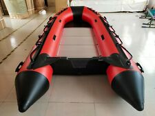 New PVC 12.5'  Inflatable Boat Tender Raft Dinghy With Aluminum Floor Red/Black