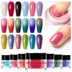 MEET ACROSS Nail Art Glitter Dipping Powder Dust Pigment Fast Dry NO UV Lamp