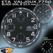 DIAL FOR MOVEMENT ETA VALJOUX 7750, TACHYMETER RING, BLACK, SUPER LUM. Ø 33.5mm