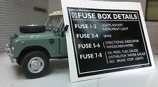 """Land Rover Serie 3 Bl Lenksäule Sicherungskasten Details Aufkleber 3 """" 586187"""