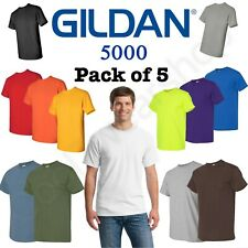 Bulk Lot Gildan Men Heavy Cotton Plain Short Sleeves T-Shirt 5000 (Pack Of 5)