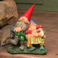 """Sunnydaze Al and Anita on Bench Gnome Statue - Small Lawn and Garden Decor - 8"""""""