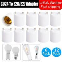 6/12Pc GU24 To E26/E27 LED Light Bulb Adapter Converter Standard Screw-in Socket
