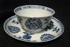 C19th Chinese Blue & White Fine Porcelain Tea Bowl & Matched Saucer