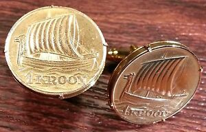 Rare 1934 VIKING SHIP Bronze Large Estonia Antique Gold Tone Coin Cufflinks +Box