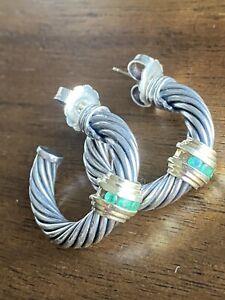 """Vintage David Yurman 1"""" Sterling Silver 14k Gold Emeralds Hoop Earrings"""