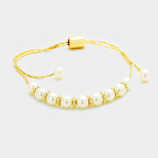 Adjustable Bracelet By Rocks Boutique Understated Gold Cream Tiny Pearl Cinch