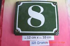Hausnummer Nr. 8 weiße Zahl auf gras - grünem Hintergrund 12 cm x 10 cm Emaille