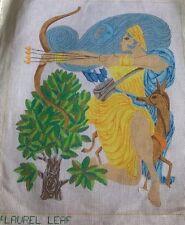 Vintage Goddess Diana Artemis Figure needlepoint large hand painted canvas