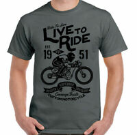 Cafe Racer T-Shirt Biker Live To Ride Mens Motorbike Motorcycle Enthusiast Bike
