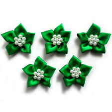 Poinsettia Flower Satin Ribbon Bows With Pearl Effect Bead Circle 3.5cm Wide Emerald Green 10