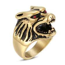 Crystal Punk Fashion Jewelry Size 8-12 Mens Stainless Steel Black Wolf Rings Red