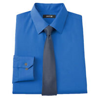 New APT 9 Men's Slim-Fit Spread-Collar Dress Shirt Blue + Skinny Tie MSRP $55
