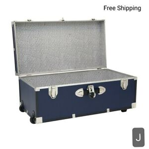 "New, 30"" Footlocker Trunk with Wheels, Navy Blue.  15.75""D x 30""W x 12.25""H. New"