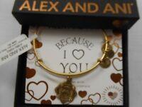Alex and Ani Because I Love You MOM III Bracelet Rafaelian Gold NWTBC