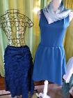 lot 3piéces bleutées taille 40-42===robe neuve ,jupe volants et écharpe voile