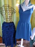 lot 3piéces bleutées femme t 40/42=robe neuve ,jupe volants et écharpe voile