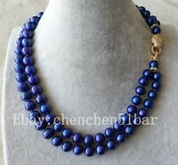 10-11mm blau Süßwasserperle 2-reihig Halskette 17-18 Zoll Leopardkopf-Verschluss