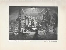 "1952 Wild West Black & White Plate "" Interior of the Hut of a Mandan Chief """