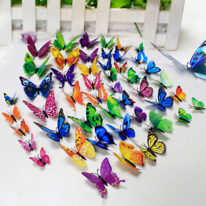 12Pcs Stickers Glass Home Window Colour Decorating 3D Butterfly PVC Decal Wall