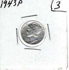 1943P Mercury Dime 90% Silver (3)
